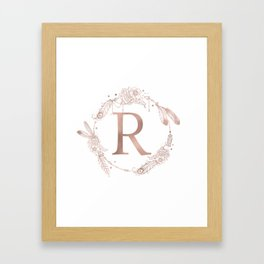 Letter R Rose Gold Pink Initial Monogram Framed Art Print
