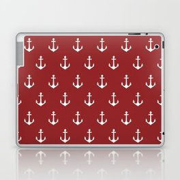 Maritime Nautical Red and White Anchor Pattern - Medium Size Anchors Laptop & iPad Skin