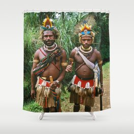 Papua New Guinea: Two Countryside Villagers Shower Curtain