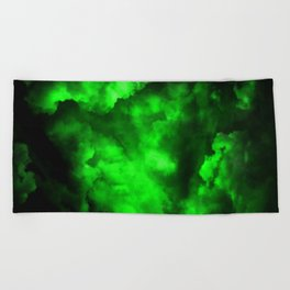 Envy - Abstract In Black And Neon Green Beach Towel