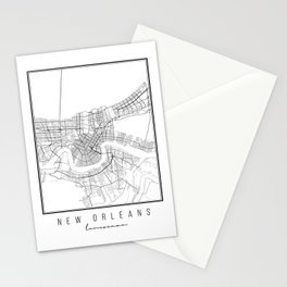 New Orleans Louisiana Street Map Stationery Cards