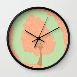 Tree hands pink and green Wall Clock