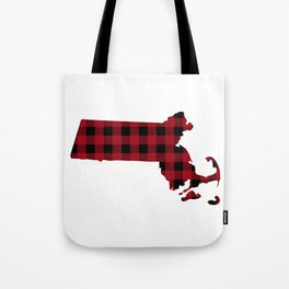 Massachusetts - Buffalo Plaid Tote Bag