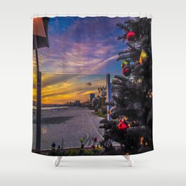Belmont Shores Christmas Sunset Shower Curtain