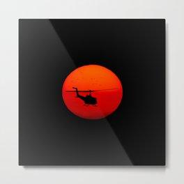 Vietnam Helicopter Sunset Metal Print