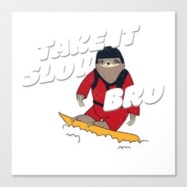 Take it Slow Bro - Funny Snowboarding Sloth Canvas Print