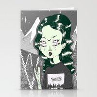 loll3 Stationery Cards featuring ☽ ZELINA ☾ by lOll3
