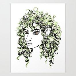 Female elf profile 1 Art Print