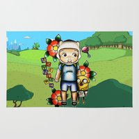 finn and jake Area & Throw Rugs featuring Finn the Kewpie and Jake the puppy by alxbngala