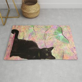 Luna Cat Pink & Green Rug