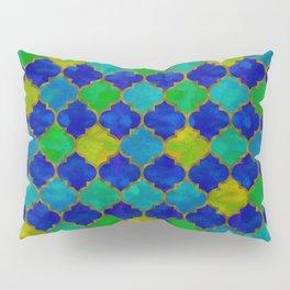 Ocean Breeze -Watercolor Moroccan Lattice Pillow Sham