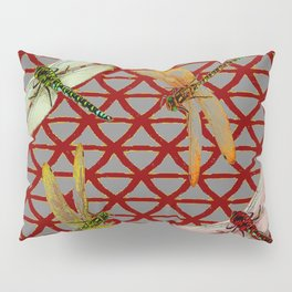 DRAGONFLIES  RED-GREY ORIENTAL SCREEN ART Pillow Sham