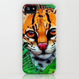 Ocelot in jungle and frog friend iPhone Case