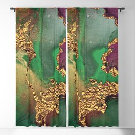Trendy Glitter Gold, Green, and Pink Paint Texture Blackout Curtain