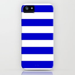Medium blue - solid color - white stripes pattern iPhone Case