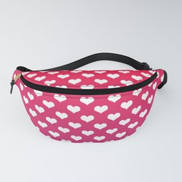 Cerise Pink Gradient White Hearts Fanny Pack