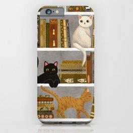 cat bookshelf iPhone Case