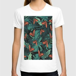 Tropical Butterfly Jungle Night Leaves Pattern #2 #tropical #decor #art #society6 T-shirt