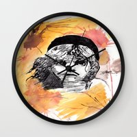 les miserables Wall Clocks featuring Les Miserables by Taylor Starnes