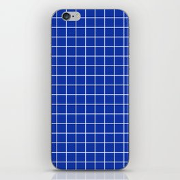 Egyptian blue - blue color - White Lines Grid Pattern iPhone Skin