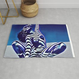 9124s-KMA Powerful Nude Woman Open and Free Striped in Blue Rug