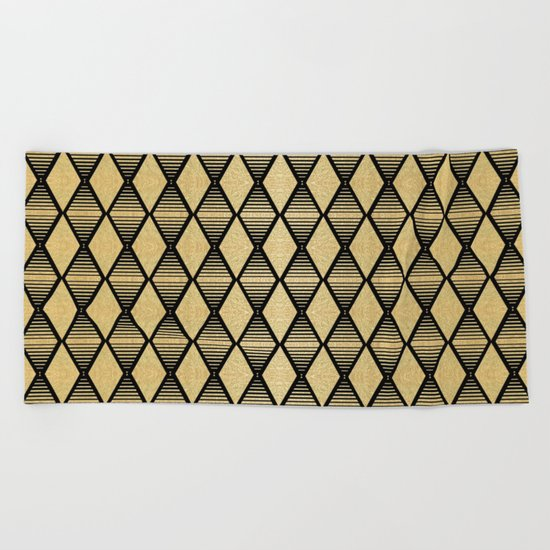 Black and Gold Geometric Pattern Beach Towel