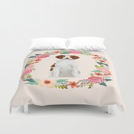 brittany spaniel dog floral wreath dog gifts pet portraits Duvet Cover
