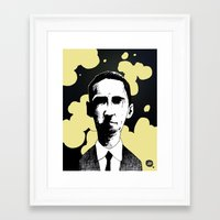 lovecraft Framed Art Prints featuring H.P. Lovecraft by James Courtney-Prior
