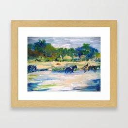 Chincoteague Horses painting Framed Art Print