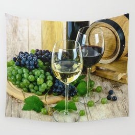 Glasses of Wine plus Grapes and Barrel Wall Tapestry