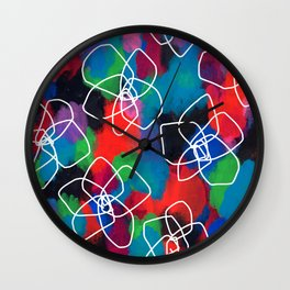 Enjoy Every Color Within You - Flower Pattern Floral Illustration Black Flower Abstract Painting Wall Clock