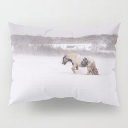 Lonely horse in the snow Pillow Sham