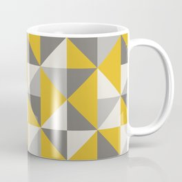 Retro Triangle Pattern in Yellow and Grey Coffee Mug