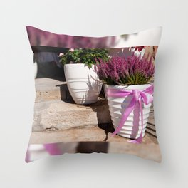 Blooming Calluna vulgaris or heather Throw Pillow