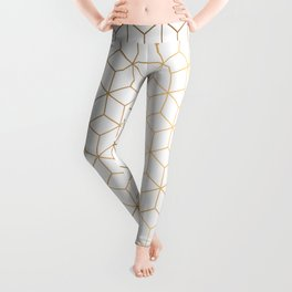 Gold Geometric Pattern on White Background Leggings