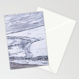 Mountain road covered in snow. 'The Struggle', road to Ambleside from the Kirkstone Pass. Stationery Cards