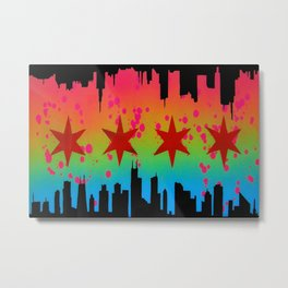 Chicago vs. Warsaw Flag Metal Print