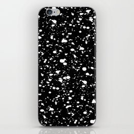 Paint Spatter White on Black iPhone Skin