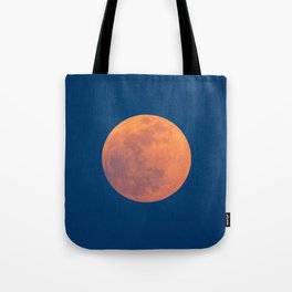 Red Moon, Moon, Blue Sky And Orange Tote Bag