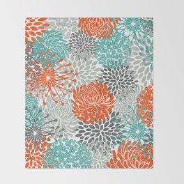 Orange and Teal Floral Abstract Print Throw Blanket