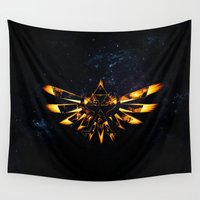 triforce Wall Tapestries featuring Zelda Triforce Red Flame by aleha