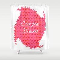 carpe diem Shower Curtains featuring Carpe Diem by Yasmina Baggili