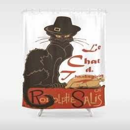 Le Chat De Thanksgiving Shower Curtain