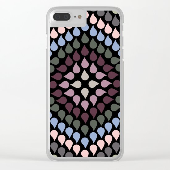 Seamless Colorful Raindrops VI Clear iPhone Case