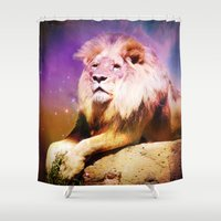 lion king Shower Curtains featuring King Lion by SwanniePhotoArt