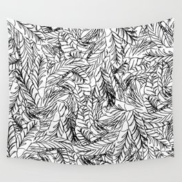 Black and White Feathers Wall Tapestry