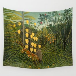 """Henri Rousseau """"Tropical Forest: Battling Tiger and Buffalo"""", 1908 Wall Tapestry"""