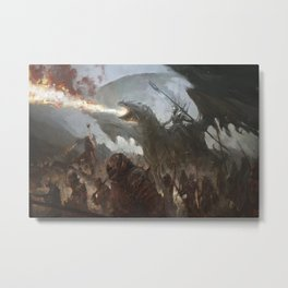 digital army dragon fire warrior fantasy art Metal Print