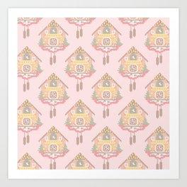 Cuckoo Clock Cross Stitch Pattern Art Print