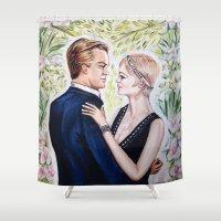gatsby Shower Curtains featuring GATSBY - DAISY by Sam Parigi